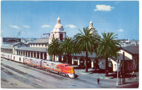 """CALIFORNIA San Diego - Santa Fe Train Station, Bekins 1950s"""